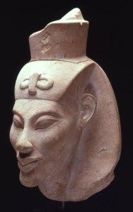 4. White limestone head of Akhenaten