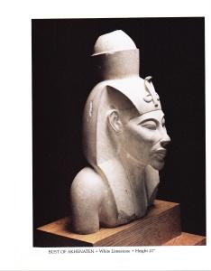 BUST OF AKHENATEN   --  White Limestone   --   Height 21 ''