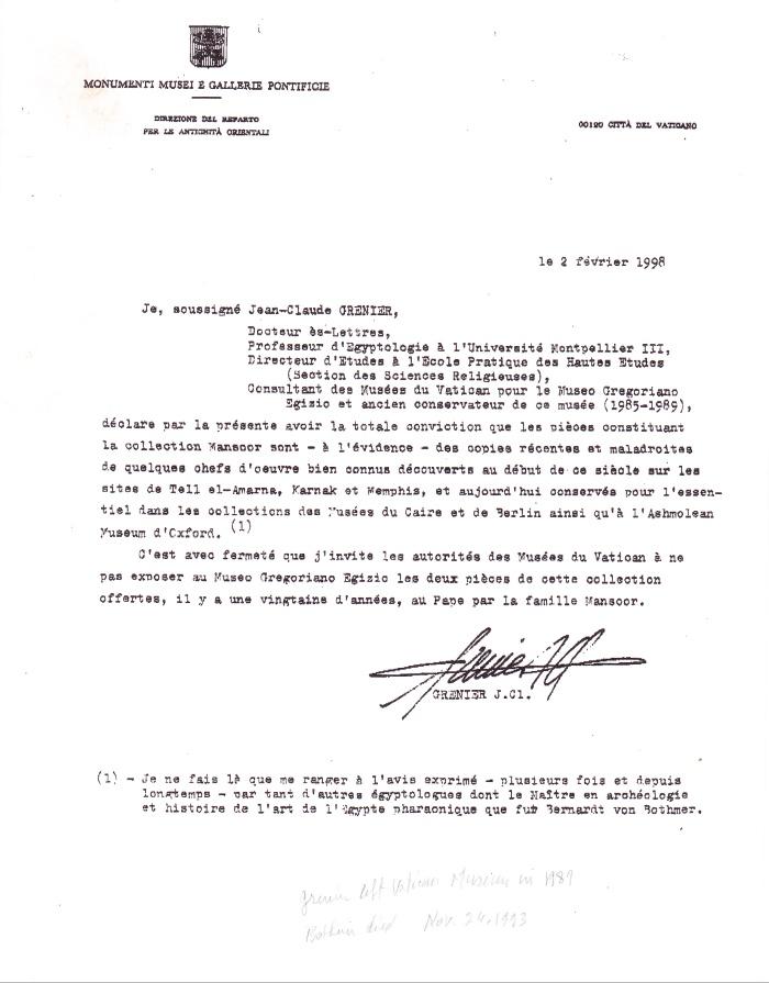 Letter from Grenier