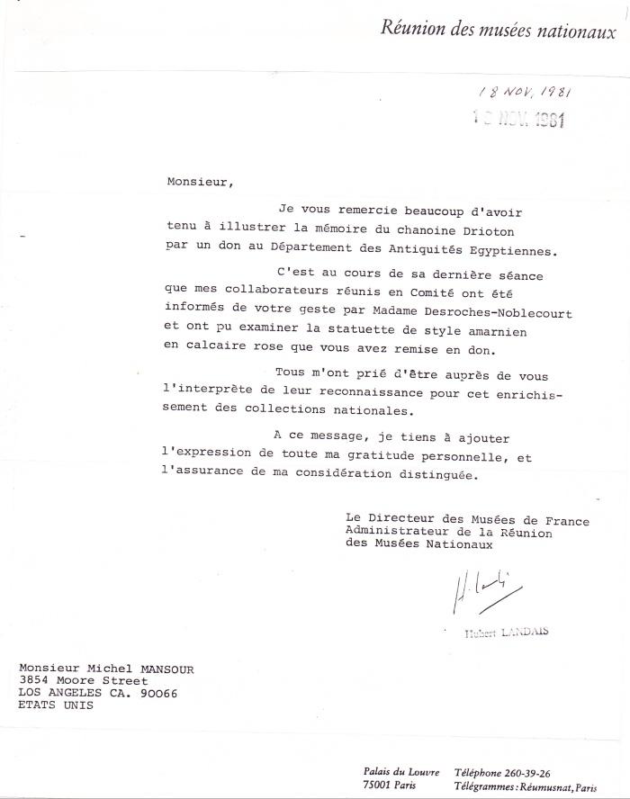 Letter from Landais